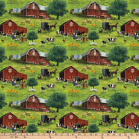 Northcott Country Paradise All-Over Green Multi