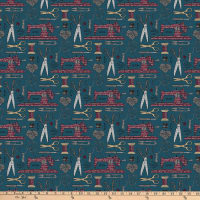 Northcott Material Girl Sewing Notions Teal Multi