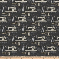 Northcott Material Girl Sewing Notions Charcoal Multi