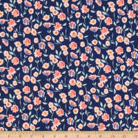 Riley Blake Stretch Jersey Knit Midnight Rose Floral Navy Sparkle