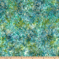 Wilmington Batiks Sparkly Floral Green/Blue
