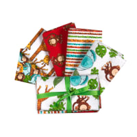 "3 Wishes Playful Cuties IV 18"" Bundles Flannel Jungle Multi 5 pcs"