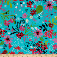 3 Wishes Digital Bright Birds Tossed Floral Turquoise