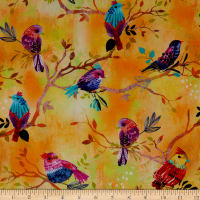 3 Wishes Digital Bright Birds Birds On Branches Yellow