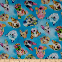 3 Wishes Digital Good Dogs Too Dog Heads Blue