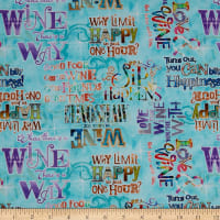 3 Wishes Digital Sip & Snip Wine Words Turquoise