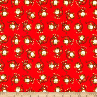 3 Wishes Playful Cuties IV Flannel Monkey Red