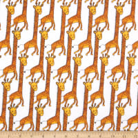 3 Wishes Playful Cuties IV Flannel Giraffe White
