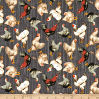 Windham Fabrics Early Bird Tossed Chickens Charcoal