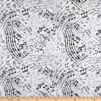 "Whistler Studios 108"" Quilt Back Music White"