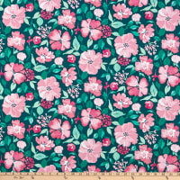 Windham Pink Lemonade Painted Floral Teal