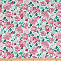 Windham Pink Lemonade Painted Floral White