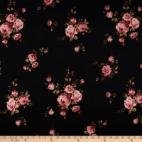 Techno Scuba Knit Floral Pink/Charcoal