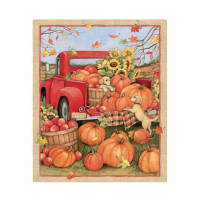 "Susan Winget Red Truck Pumpkins Puppies 37"" Panel Multi"