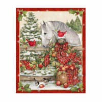"Susan Winget Christmas Horse Bow 36"" Panel Multi"