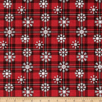 Springs Creative Christmas Over The River Snowflake Plaid Red
