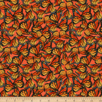 Clothworks Zinnias In Bloom Toss Dark Coral