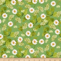 Clothworks Zinnias In Bloom Toss Olive