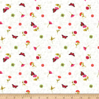 Clothworks Zinnias In Bloom Toss White