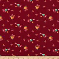 Clothworks Rosewood Birds Wine