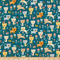 Andover/Makower UK Cool Cats Jumping Cats Turquoise