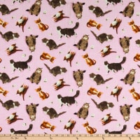 Andover Meow Meadow Cats Pink