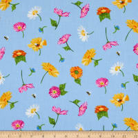 Andover Meow Meadow Flowers Blue