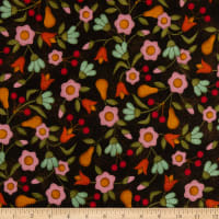 Maywood Studio Home Sweet Home Flannel Tossed Flowers Espresso Bean