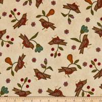 Maywood Studio Home Sweet Home Flannel Birds & Flowers Natural