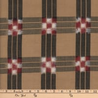Textile Creations Dakota Double Ikat Checkerboard Black/Khaki/Red