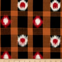 Textile Creations Dakota Double Ikat Plaid Black/Khaki/Red