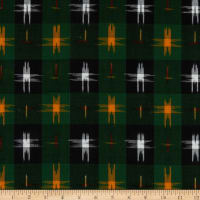 Textile Creations Dakota Double Ikat Plaid Green/Gold/Multi