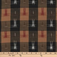 Textile Creations Dakota Double Ikat Plaid Black/Khaki
