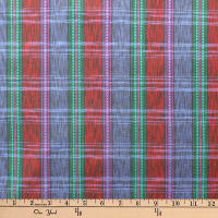 Textile Creations Taus Plaid Ikat Wine/Blue/Teal