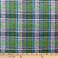 Textile Creations Taus Plaid Ikat Teal/Green