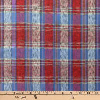 Textile Creations Taus Plaid Ikat Red/Blue