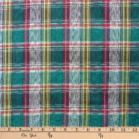 Textile Creations Taus Woven Ikat Plaid Green/Red/Yellow