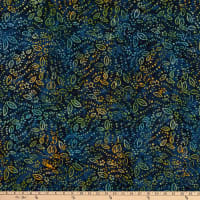 Benartex Bali Eden Batik Leaves Navy/Multi