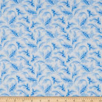 Petite Fleur Acanthus Leaf Scroll Powder Blue/White