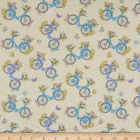 Benartex Butterfly Garden Bicycles N Butterflies Lemon