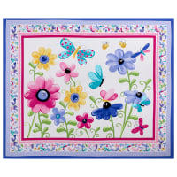 "Susybee Flutter the Butterfly floral quilt & play mat 35.5"" panel Lilac"