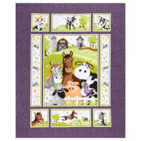 "Susybee Barnyard Buddies 36"" Panel Purple"