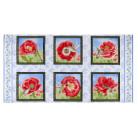 "Henry Glass Poppy Meadow 24"" Poppy Blocks Panel Red"