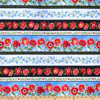Henry Glass Poppy Meadow Poppy Border Stripe Multi