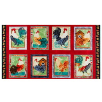"""Henry Glass Farm Raised Rooster Block 24"""" Panel Red"""
