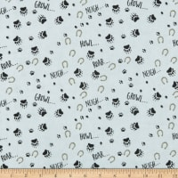 Henry Glass Flannel Furr-Ever Friends Footprint Allover Gray