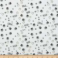Henry Glass Flannel Furr-Ever Friends Footprint Allover White/Multi