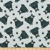 Henry Glass Flannel Furr-Ever Friends Tossed Bears Gray