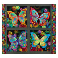 "In The Beginning Fabrics Unusual Garden II  Butterfly 36"" Panel Black/Multi"