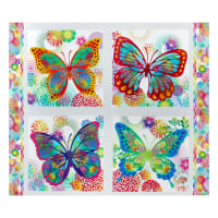 "In The Beginning Fabrics Unusual Garden II  Butterfly 36"" Panel Multi/White"